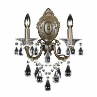 Triarch Industries Renaissance 2 Light Wall Sconce in English Bronze with Draped In Crystal With Drops And Crystal Bobeches Glass 32310/2