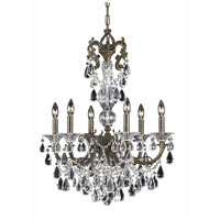 Triarch Industries Renaissance 6 Light Chandelier in English Bronze with Draped In Crystal With Drops And Crystal Bobeches Glass 32313