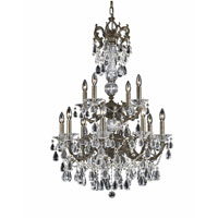 Triarch Industries Renaissance 12 Light Chandelier in English Bronze with Draped In Crystal With Drops And Crystal Bobeches Glass 32314