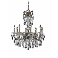 Triarch Industries Renaissance 8 Light Chandelier in English Bronze with Draped In Crystal With Drops And Crystal Bobeches Glass 32317