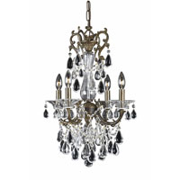 Triarch Industries Renaissance 4 Light Mini Chandelier in English Bronze with Draped In Crystal With Drops And Crystal Bobeches Glass 32318