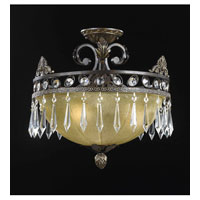 Triarch Industries Le Grandeur 3 Light Semi-Flush Mount in English Bronze with Opulent Glass 32321-16