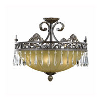 Triarch Industries Le Grandeur 5 Light Semi-Flush Mount in English Bronze with Opulent Glass 32321-21