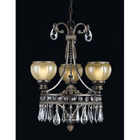 Triarch Industries Le Grandeur 3 Light Mini Chandelier in English Bronze with Opulent Glass 32328