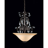 Triarch Industries Primavera 3 Light Pendant in English Bronze with Crystal Accents Glass 32342