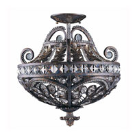 Triarch Industries Grand 3 Light Semi-Flush Mount in English Bronze with Crystal Accents Glass 32371