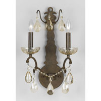 Triarch Industries Versailles 2 Light Wall Sconce in Antiqued Bronze with Crystal Accents Glass 32460/2