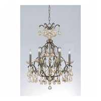 Triarch Industries Versailles 6 Light Chandelier in Antiqued Bronze with Crystal Accents Glass 32463