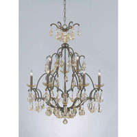 Triarch Industries Versailles 9 Light Chandelier in Antiqued Bronze with Crystal Accents Glass 32464