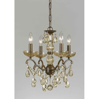 Triarch Industries Versailles 4 Light Mini Chandelier in Antiqued Bronze with Crystal Accents Glass 32468