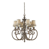 Triarch Industries Mardi Gras 6 Light Chandelier in English Bronze with Soft Back Glass 32513