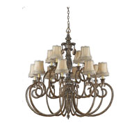 Triarch Industries Mardi Gras 12 Light Chandelier in English Bronze with Soft Back Glass 32514