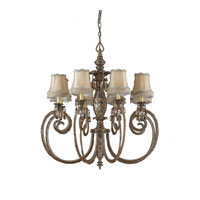 Triarch Industries Mardi Gras 8 Light Chandelier in English Bronze with Soft Back Glass 32517