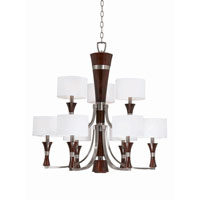 Triarch Industries Brady 9 Light Chandelier in Brushed Steel And Wood with Linem Drum Shade 32704