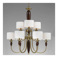 Triarch Industries English Manor 9 Light Chandelier in Burnished Brass With Express Wood with Drum Glass 32714