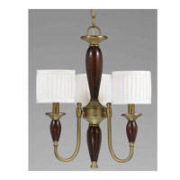 Triarch Industries English Manor 3 Light Chandelier in Burnished Brass With Express Wood with Drum Glass 32718