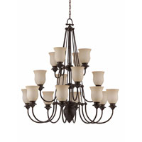 Triarch Industries La Lanterna 16 Light Entry Chandelier in Dark Bronze with Hand Blown Scavo Glass 32725