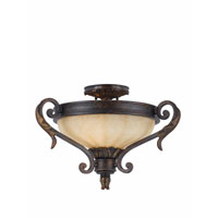 Triarch Industries Venus 2 Light Semi-Flush Mount in English Bronze with Fluted Scavo Glass 32761-20