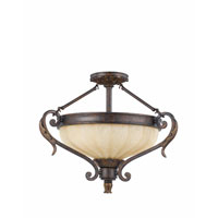 Triarch Industries Venus 3 Light Semi-Flush Mount in English Bronze with Fluted Scavo Glass 32761-23