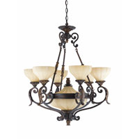 Triarch Industries Venus 8 Light Chandelier in English Bronze with Fluted Scavo Glass 32763