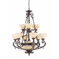 Triarch Industries Venus 11 Light Chandelier in English Bronze with Fluted Scavo Glass 32764