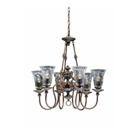 Triarch Industries Cafe 6 Light Chandelier in Tortoise Shell with Hand Blown Water Glass 32773