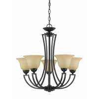 Triarch Industries Greco 5 Light Chandelier in English Bronze with Amber Tinted Frosted Glass 32783