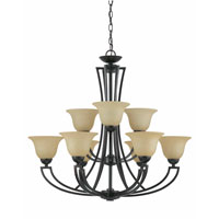 Triarch Industries Greco 9 Light Chandelier in English Bronze with Amber Tinted Frosted Glass 32784