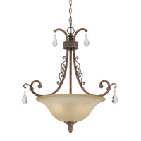Triarch Industries Le Chandon 3 Light Pendant in Copper Patina with Fluted Champagne and Champagne Drops Glass 32802