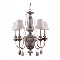 Triarch Industries Value Series 40 5 Light Chandelier in Aged Fossil with Silk Glass 33043