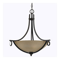 Triarch Industries Value Series 150 3 Light Pendant in English Bronze with Cognac Antiqued Scavo Glass 33152