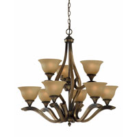Triarch Industries Value Series 230 9 Light Chandelier in Platinum Bronze with Amber Tinted Frosted Glass 33234
