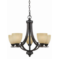 Triarch Industries Value Series 240 5 Light Chandelier in English Bronze with Antiqued Painted Glass 33243