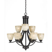 Triarch Industries Value Series 240 9 Light Chandelier in English Bronze with Antiqued Painted Glass 33244