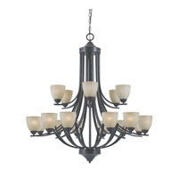 Triarch Industries Value Series 240 18 Light Entry Chandelier in English Bronze with Antiqued Painted Glass 33245