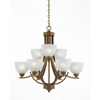 Triarch Industries Value Series 280 9 Light Chandelier in Aged Gold with White Swirl Alabaster Glass 33284-AG