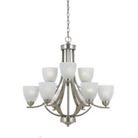 Triarch Industries Value Series 290 9 Light Chandelier in Satin Nickel with White Swirl Alabaster Glass 33294