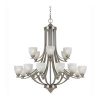 Triarch Industries Value Series 290 18 Light Entry Chandelier in Satin Nickel with White Swirl Alabaster Glass 33295