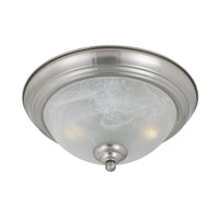 Triarch Industries Value Series 290 2 Light Flush Mount in Satin Nickel with White Swirl Alabaster Glass 33296