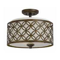 Triarch Industries Orion 3 Light Semi-Flush Mount in Aged Bronze with Fabric Shade 35101