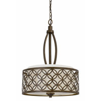 Triarch Industries Orion 3 Light Pendant in Aged Bronze with Fabric Shade 35102