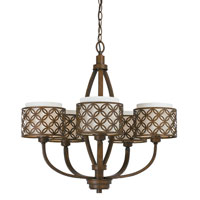 Triarch Industries Orion 5 Light Chandelier in Aged Bronze with Fabric Glass 35103