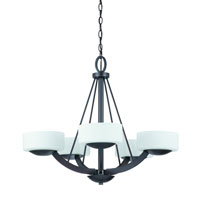 Triarch Industries Viking 5 Light Chandelier in Oil Rubbed Bronze with White Opal Glass 38123