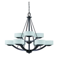 Triarch Industries Viking 9 Light Chandelier in Oil Rubbed Bronze with White Opal Glass 38124