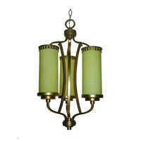 Triarch Industries Il Maestro 3 Light Chandelier in Silver And Gold Leaf with Cream Colored Glass 38518