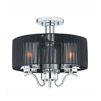 Triarch Industries Cylindique 3 Light Semi-Flush Mount in Chrome with Clear And Frosted Glass 38521