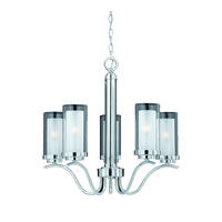 Triarch Industries Cylindique 5 Light Chandelier in Chrome with Clear And Frosted Glass 38523