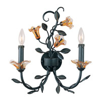 Triarch Industries Amber Mist 2 Light Sconce in Blacksmith Bronze with Amber Art Flower Accents Glass 39100/2