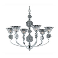 Triarch Industries Medallion 6 Light Chandelier in Chrome Plated With Black Nickel Accents with Clear Crystal Glass 39413