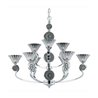 Triarch Industries Medallion 9 Light Chandelier in Chrome Plated With Black Nickel Accents with Clear Crystal Glass 39414